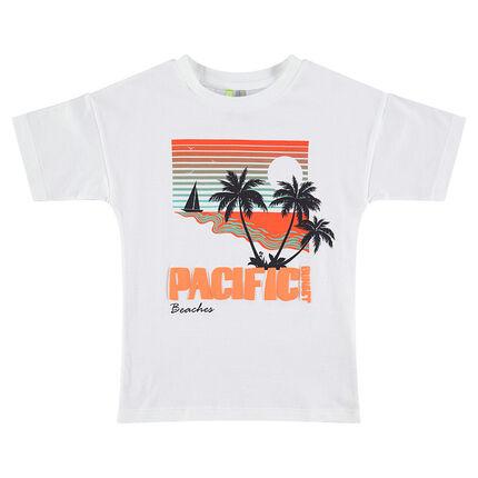 camiseta de manga corta con paisa y palmeras estampadas
