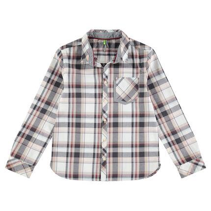 Camisa de manga larga de algodón a cuadros