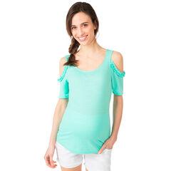 Camiseta de premamá verde menta con hombros de punto calado
