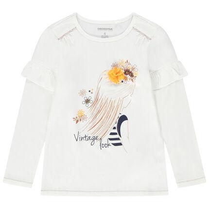 Camiseta de manga larga de punto con princesa estampada