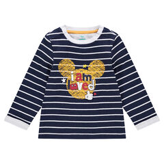 Camiseta de manga larga con rayas que contrastan y Mickey estampado ©Disney