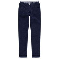 Júnior - Pantalón de terciopelo azul marino liso con efecto arrugado