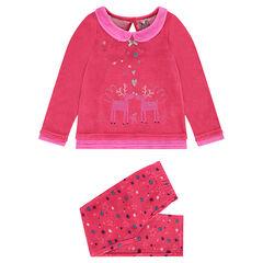 Pijama de terciopelo con alces estampados y parte inferior de estrellas.