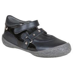 Zapatos merceditas de cuero de color negro con remache