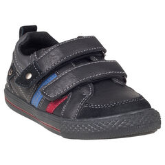 Zapatillas de deporte de caña baja con velcro de aspecto cuero bandas en contraste
