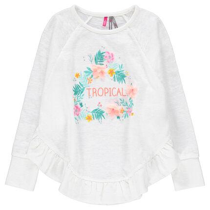 Camiseta de manga larga de punto con estampado de flores y con volante