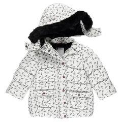 Anorak con forro de sherpa, capucha extraíble y piel falsa