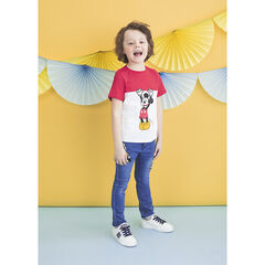 T-shirt manches courtes bicolore print Mickey Disney