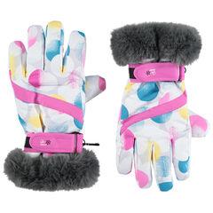 Gants de ski imprimés avec poignets en fausse fourrure