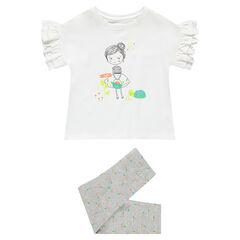 Pijama de punto con camiseta con estampado de niña y leggings jaspeados