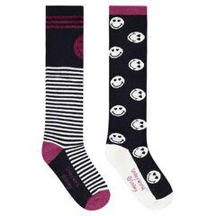 Juego de 2 pares de calcetines altos con ©Smiley y rayas de jácquard