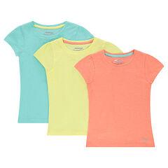 Lote de 3 camisetas lisas de manga corta de jersey lisas