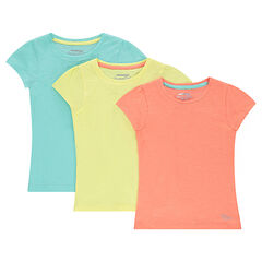 Júnior - Lote de 3 camisetas de manga corta lisa de jersey