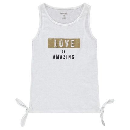 Júnior- Camiseta de punto slub con lazos y mensaje estampado
