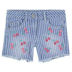 Pantalón corto vaquero con efecto desgastado, rayas y cerezas bordadas