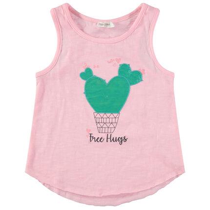 Camiseta rosa con cactus y mensaje estampados