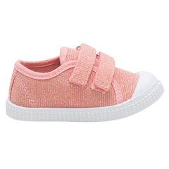 Zapatillas bajas color coral de tela mezclada con hilo brillante de la 24 a la 29
