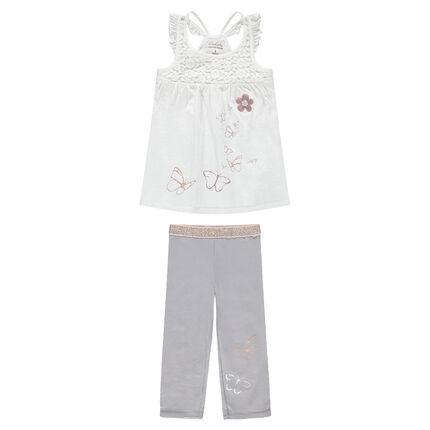Conjunto con camiseta y mariposas estampadas y leggings cortos