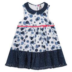 Vestido sin mangas con estampado de burbujas all-over, cuello bebé y volante con lunares