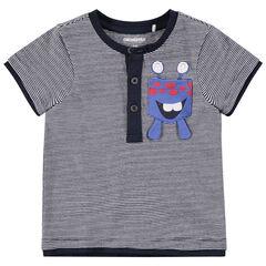 Camiseta de manga corta con rayas y monstruo estampado