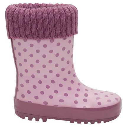 Botas de agua de caucho con cuello de punto rosa e interior de la 24 a la 29