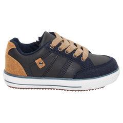 Zapatillas bajas con efecto de cuero bimaterial con cordones y cremallera