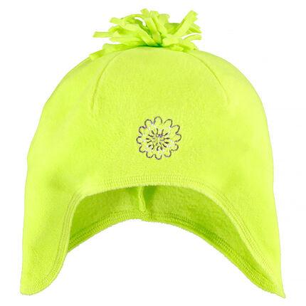 Bonnet cache-oreilles micropolaire avec pompon et broderie