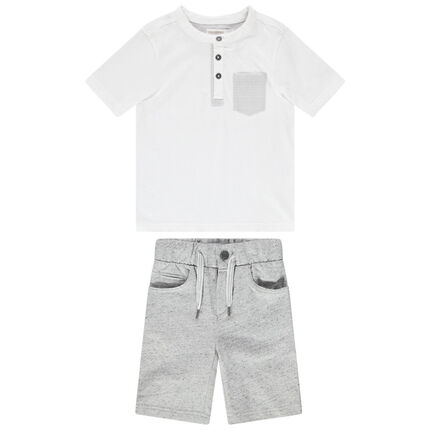 Conjunto de camiseta con bolsillo de rayas y bermuda de felpa neps