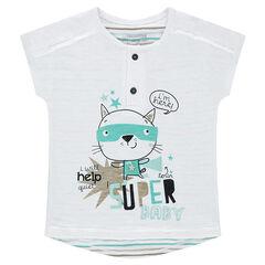 Camiseta de manga corta de punto con rayas en contraste y gato estampado