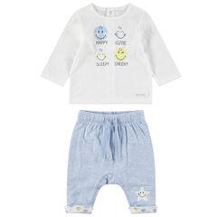 Ensemble avec tee-shirt print ©Smiley et pantalon chiné print étoile