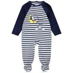 Pijama de terciopelo con rayas y estampado de Mickey Disney