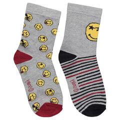 Juego de 2 pares de calcetines variados con ©Smiley de jacquard
