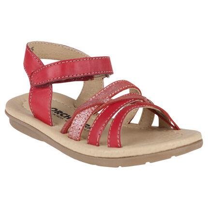 Nu-pieds rouges en cuir avec bride à paillettes