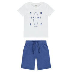 Pijama con camiseta con estampado de surf y bermudas