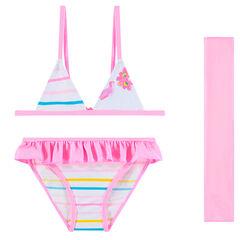 Bañador 2 piezas de rayas con pareo rosa