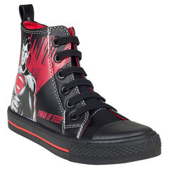 Zapatillas de deporte de caña alta de aspecto cuero con estampado Superman