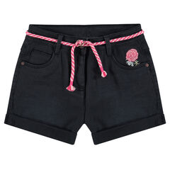 Júnior - Pantalón corto liso con efecto arrugado, flores bordadas y cuerda ajustable