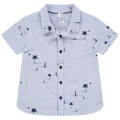 Camisa de manga corta con rayas y dibujos estampados all-over , Orchestra