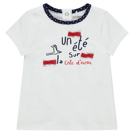 Camiseta de manga corta de punto con lazos e inscripciones estampadas