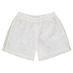 Pantalón corto de encaje con ribetes dorados