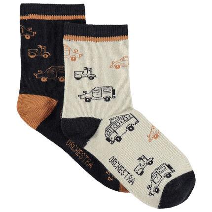 Juego de 2 pares de calcetines variados con dibujos de coches y camiones