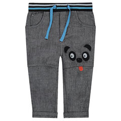Pantalón de chambray con detalles de parches y cintura elástica