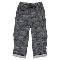 Pantalón de felpa con fantasía con forro de tejido de punto con bolsillos