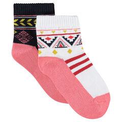 Juego de 2 pares de calcetines variados con dibujos étnicos