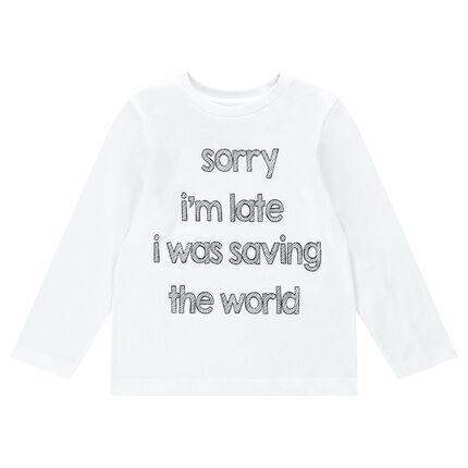 Camiseta de manga larga de punto con mensaje estampado y adhesivos de fantasía