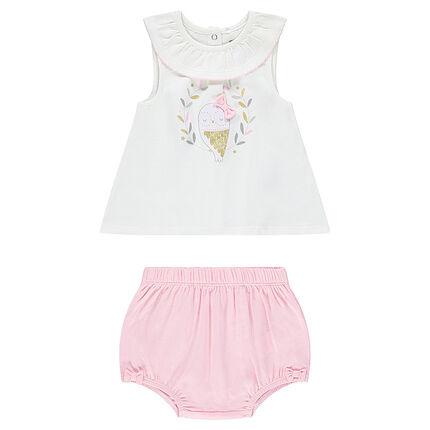 Conjunto con camiseta estampado y braguita rosa a juego
