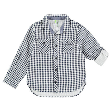 Camisa de manga larga con cuadros de vichy con bolsillos