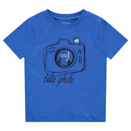 Camiseta de manga corta de punto con cámara estampada