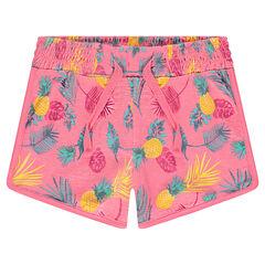 Pantalón corto de punto con estampado de fantasía all over