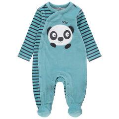 Pijama de terciopelo bicolor con panda bordado